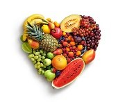Heart made out of fruit.