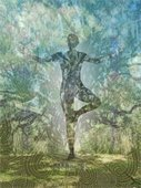 """Ancient Oak Tree Pose"" painting by Caren Hackman."