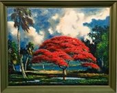 """Poinciana by the River"" painting by Harold Newton of The Highwaymen."