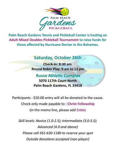 A flier promoting an Adult Mixed Doubles Pickleball Tournament on October 26th.