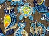 Photo of handmade ornaments at the Holiday Bazaar.