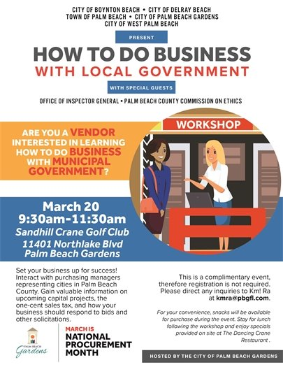 Flyer - How to Do Business with Local Government Martch 20 9:30am to 11:30am at Sandhill Crane Golf Club