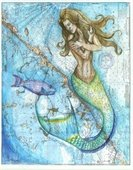 A painting of a mermaid on a map.