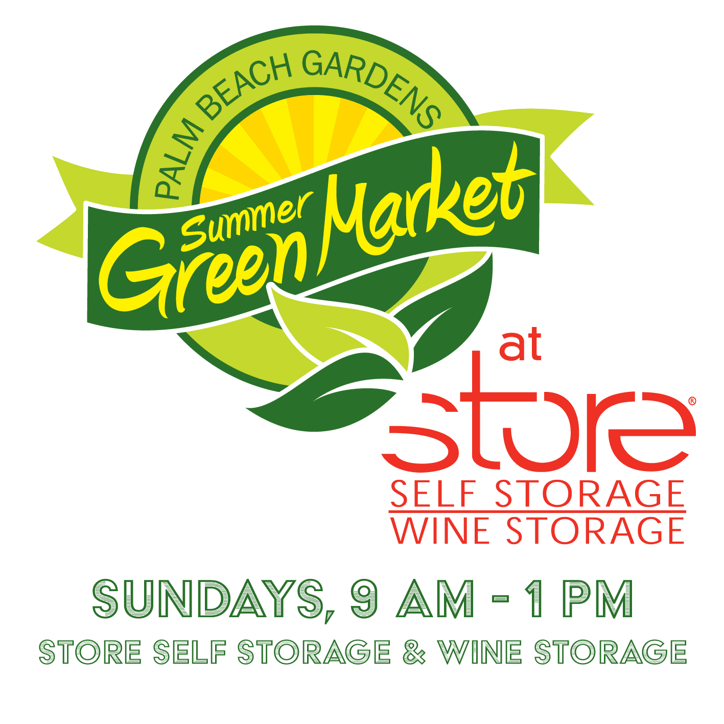 Summer GreenMarket- Sundays at 9 a.m. to 1 p.m. at STORE Self Storage & Wine Storage.