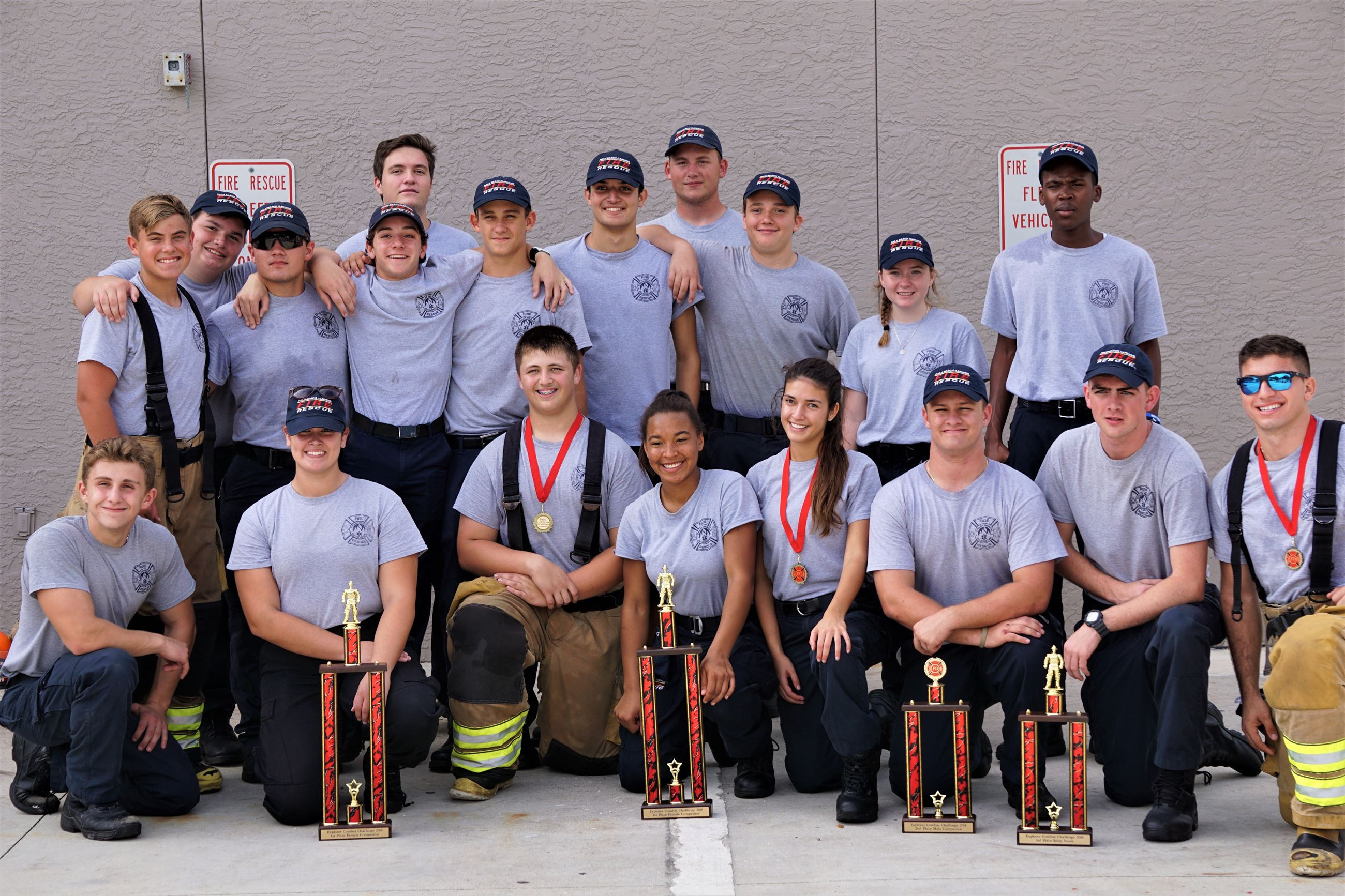 Explorers with Combat Challenge Trophies.