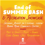 End of Summer Bash Saturday, August 24 from 11 a.m. to 1 p.m.