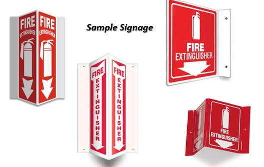 Four different examples of fire extinguisher signage.