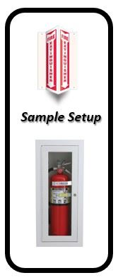 Sample Fire Extinguisher Setup with sign and holder.