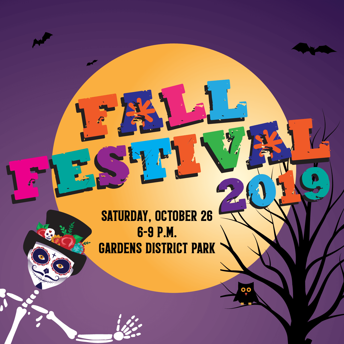 2019 Fall Festival on October 26th at 6-9 p.m. at Gardens District Park