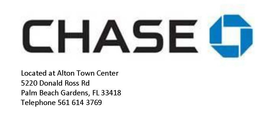 Chase, Located at Alton Town Center, 5220 Donald Ross Rd, Palm Beach Gardens, FL 33418, Telephone 56