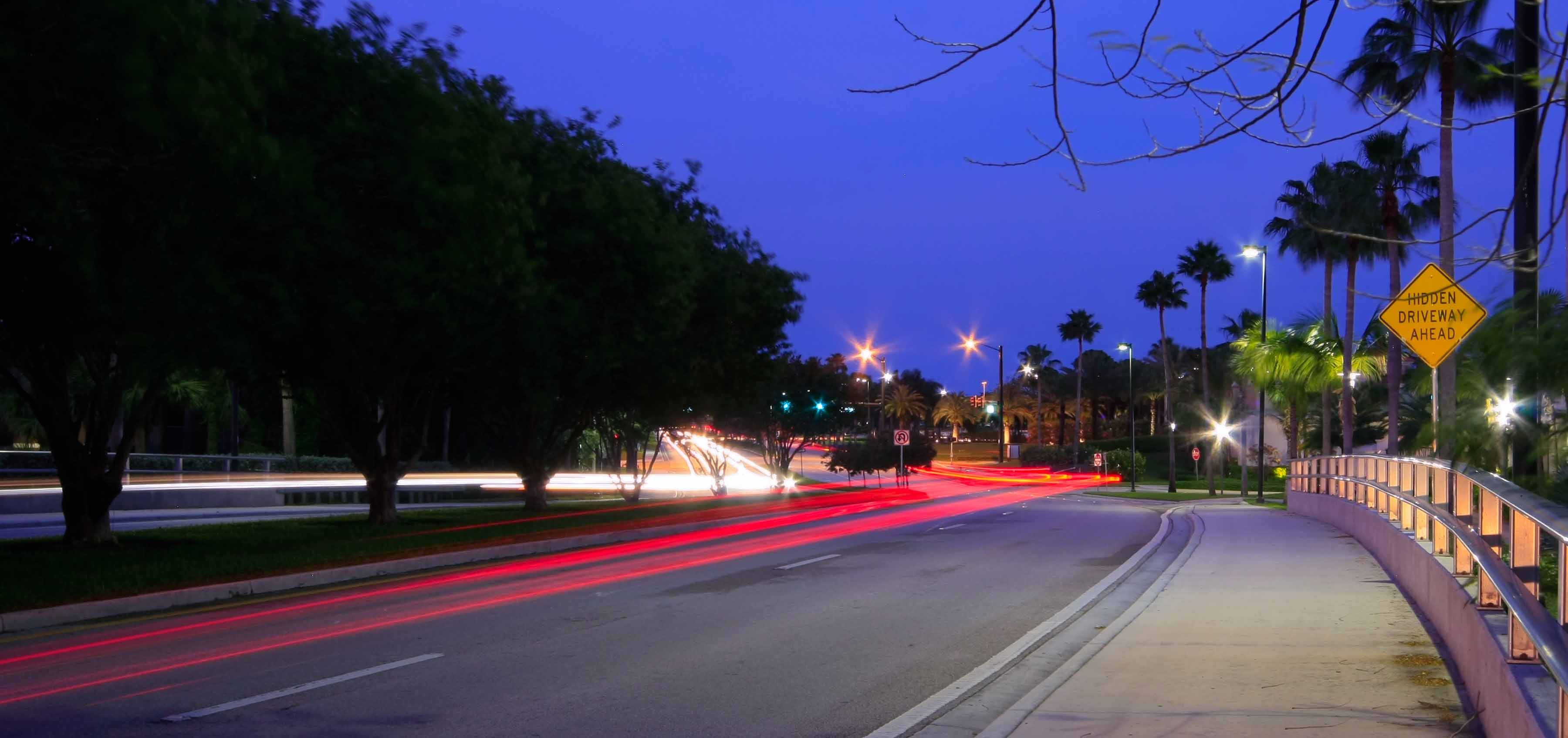 Gardens Parkway at night