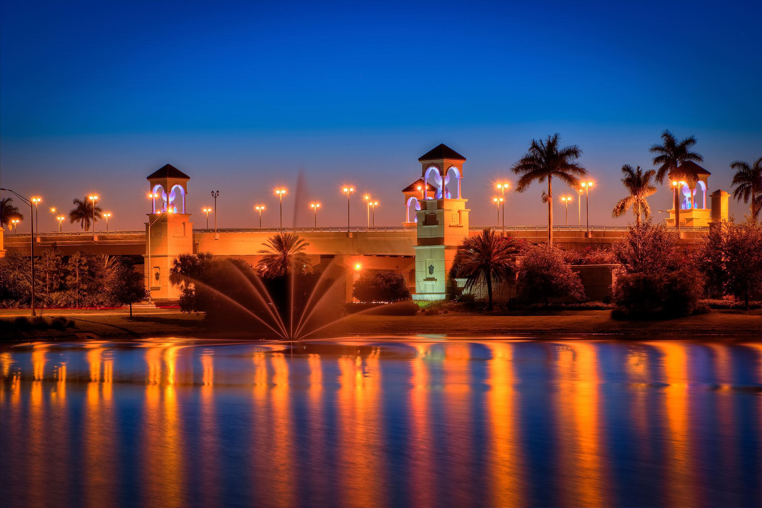PGA-Boulevard-Bridge-at-Palm-Beach-Gardens-After-Sunset