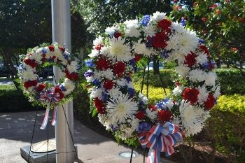 Two Memorial Day floral wreaths