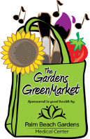 The Gardens GreenMarket logo - a green bag with a sunflower, strawberry paint brushes and musical no