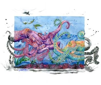 """Deep Sea Embrace"" watercolor painting by Amber Moran"