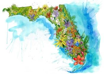 """Florida Land of Flowers"" watercolor painting by Amber Moran"