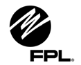 "FPL with sphere and squiggly line design and letters ""FPL"""