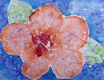 A flower done with watercolor batik