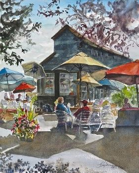 Cafe Colors watercolor painting by Marilyn Liedman