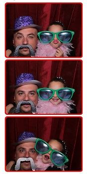 Dad and daughter in the photo booth