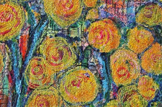 """Yellow Flowers"", fiber art by Michele Sanandajian"