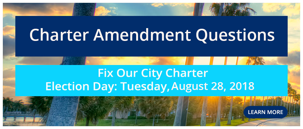 Graphic reading Charter Amendment Questions click to link to website for August 28 ballot