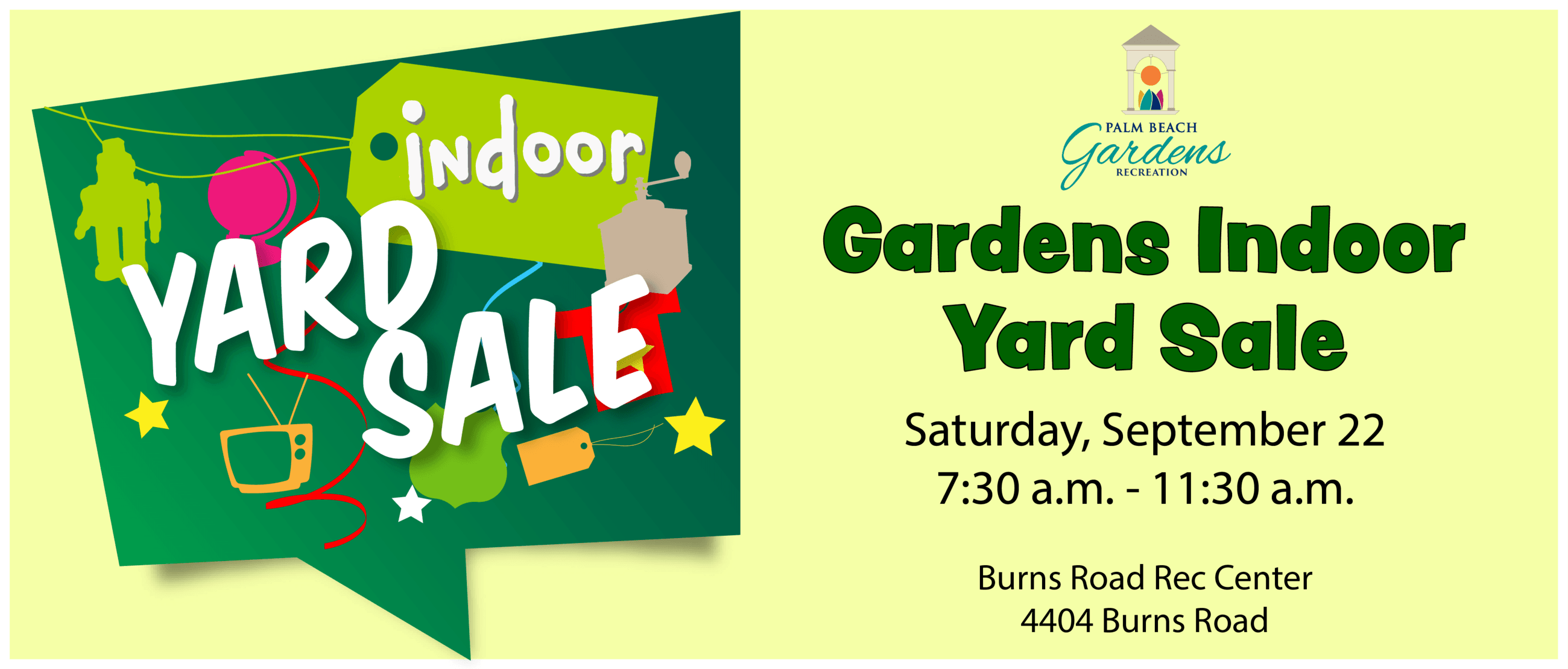 graphic link reading gardens indoor yard sale Saturday, September 22 7:30 a.m. to 11:30 a.m.