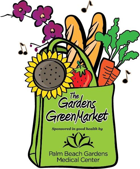 Gardens GreenMarket logo with a shopping bag filled with fresh food and flowers