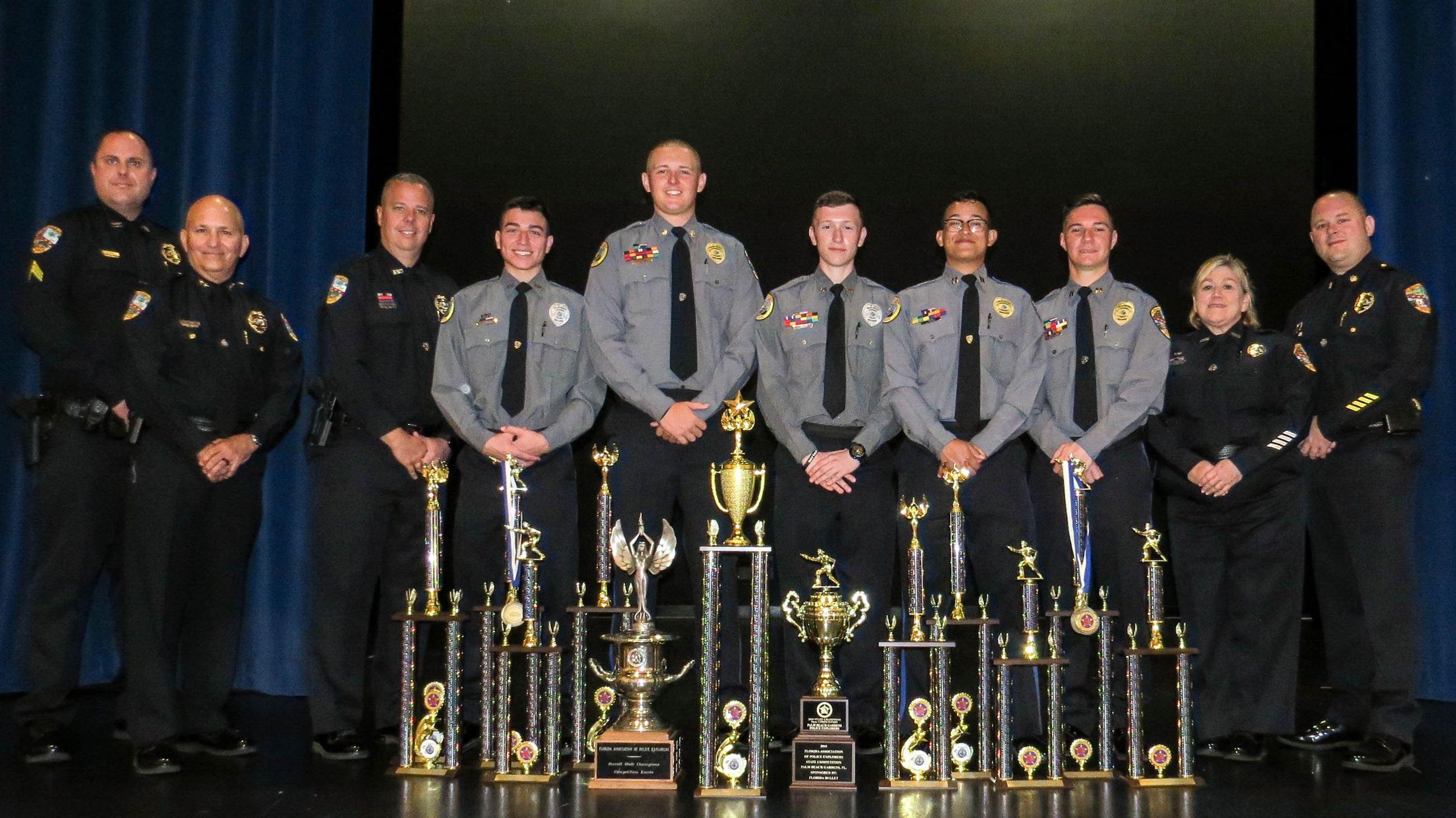 Police Explorers Displaying Trophies from State Competition