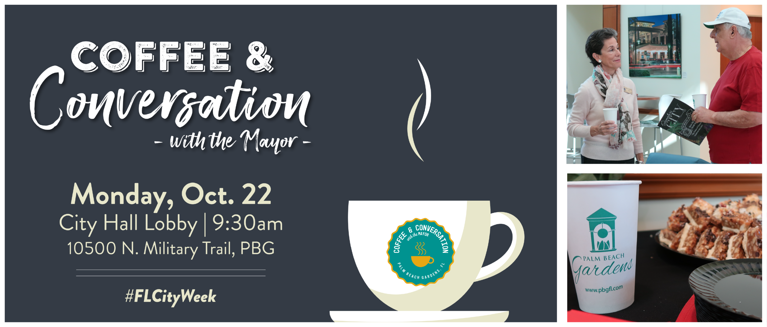 graphic link to Coffee and conversation with the mayor event page
