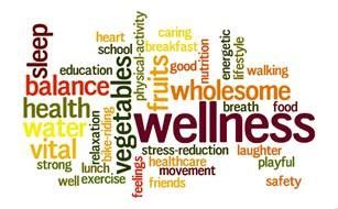 "Health and Wellness Fair logo made up of ""healthy"" words in a design"