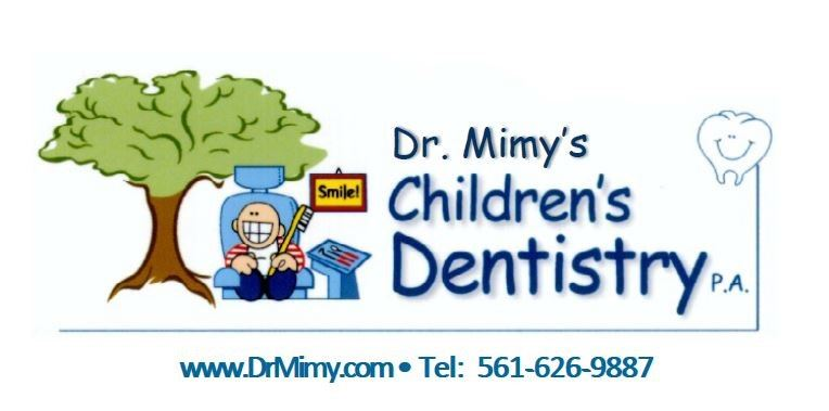 Dr. Mimys Childrens Dentistry logo with a cartoon child holding a toothbrush