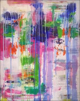 """Remix"", abstract painting by Mirtha Moreno"