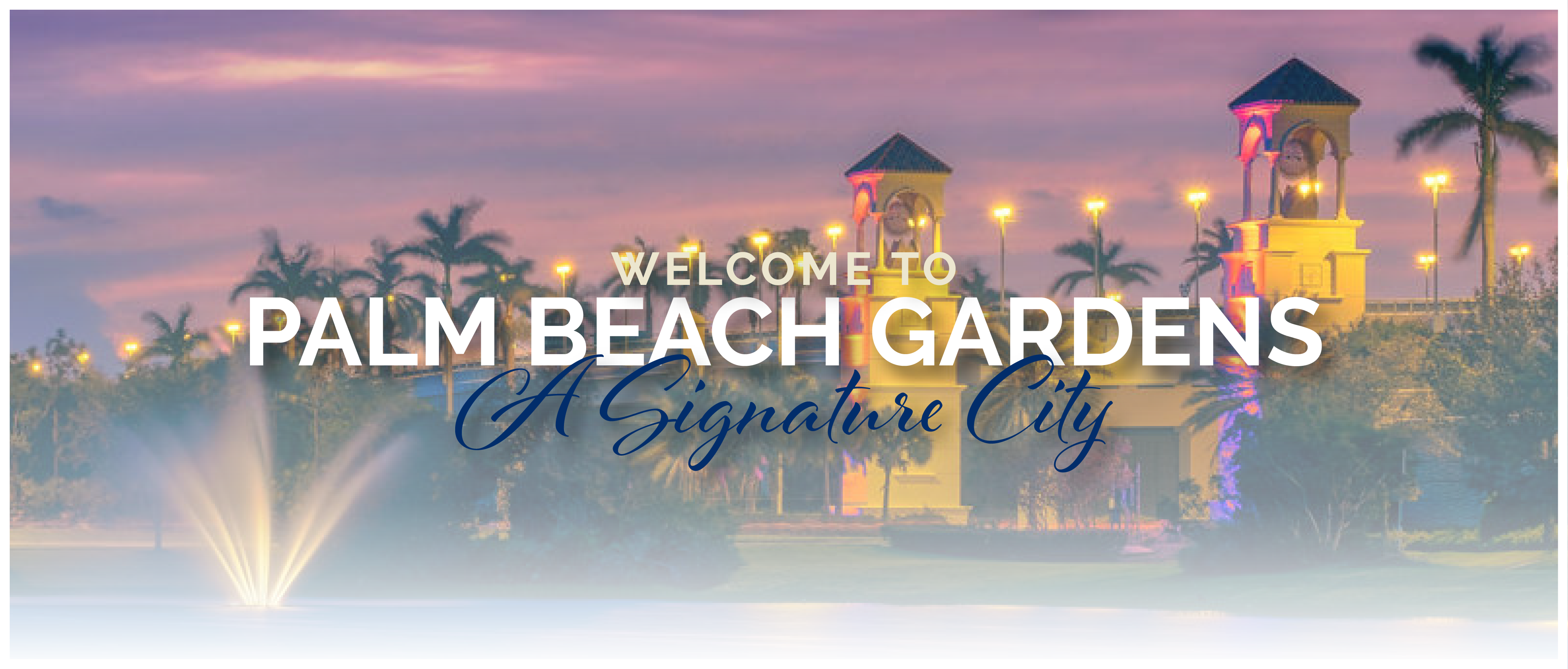 "Image of the PGA flyover bridge with ""Welcome to Palm Beach Gardens"""