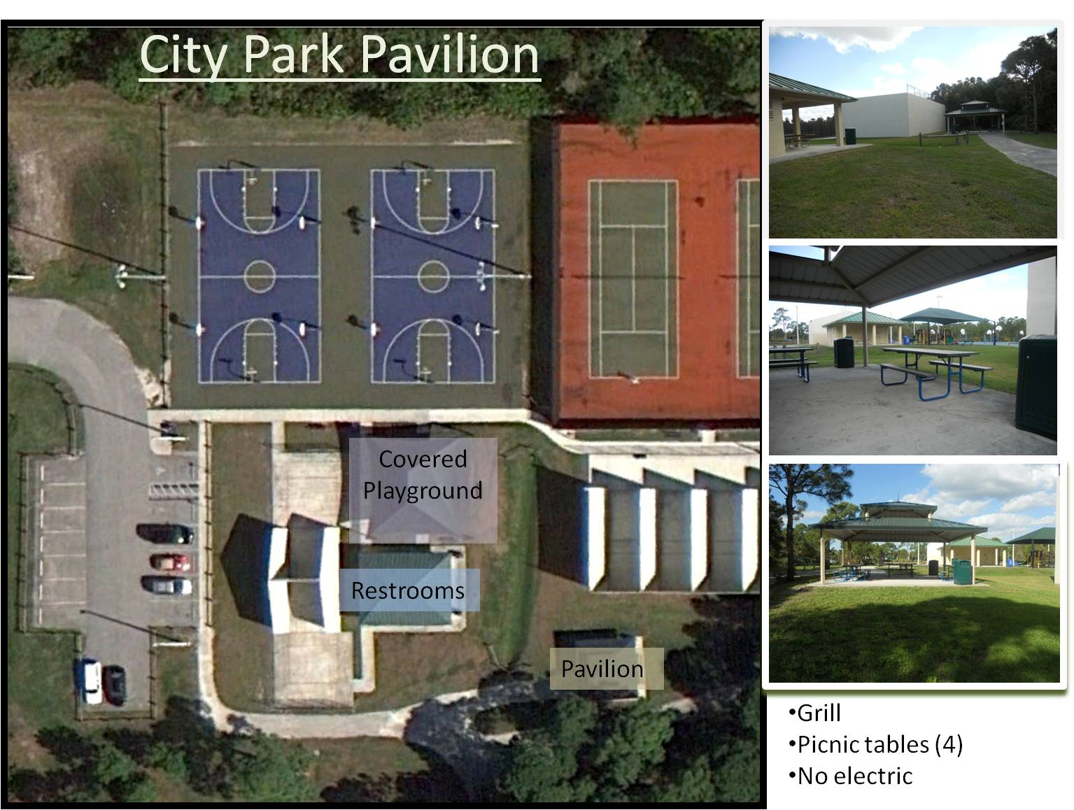 Arial map of City Park with pavilions.