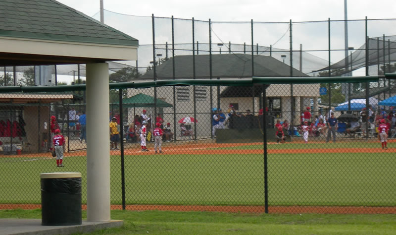 Gardens Park Baseball Field with a children&#39s team playing.