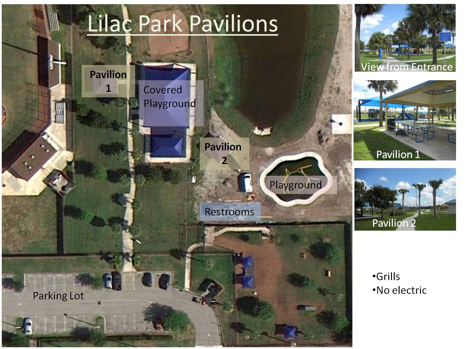 Arial map of Lilac Park and pavilions.