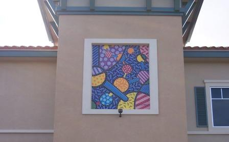 Artist's conceptual image of a molecule framed on outside of building