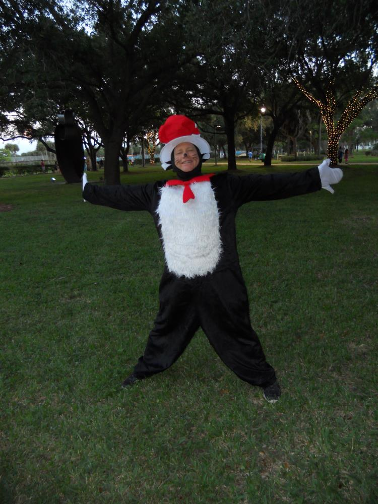 Woman dressed in Cat in the Hat costume