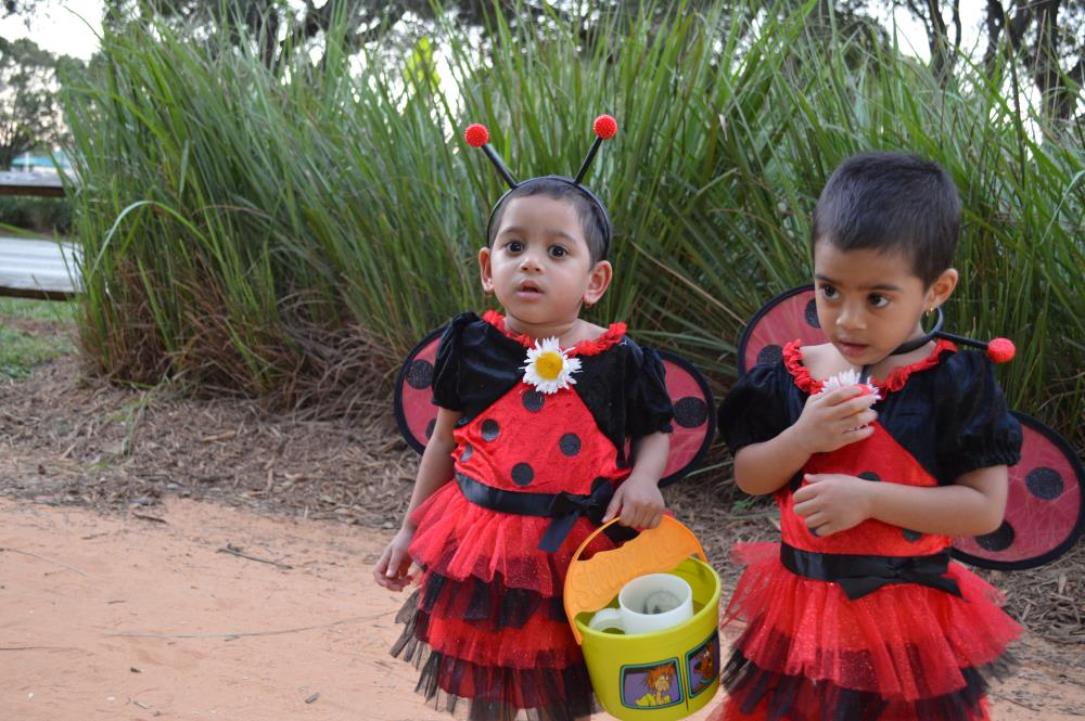 Young girls dressed in lady bug dresses with wings