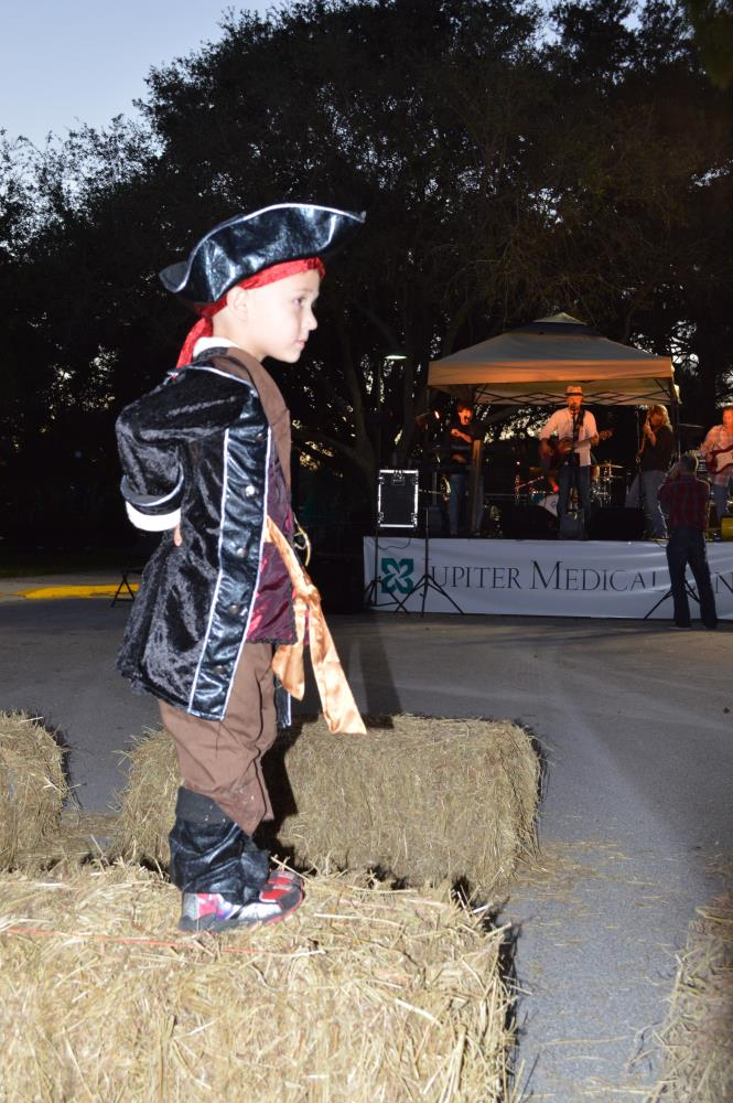 Boy dressed as pirate stands on hay bale