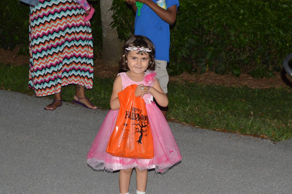 Young girl dressed in pink princess outfit, holding orange candy bag