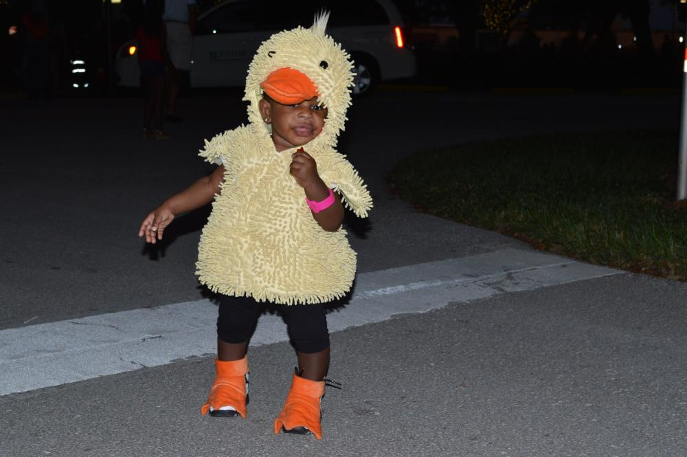 Young boy dressed as duckling